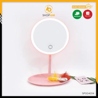 [Mã SKAMPUSH10 giảm 10% đơn 200K] Gương để bàn trang điểm SHOP10K, Gương đèn led cảm ứng mẫu tròn SP004014