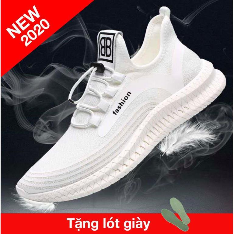 Giày thể thao nam sneaker, màu đen, trắng sang trọng tặng lót giày chống mùi hôi kiểu dáng hàn quốc trẻ trung Hot 2020