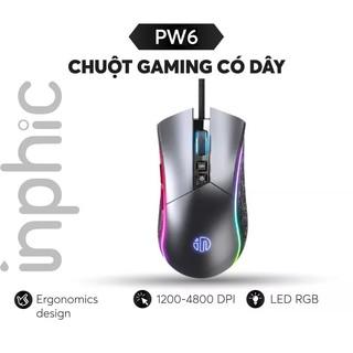 Chuột Gaming Có Dây inphic PW6 LED RGB 16,8 triệu màu cho game thủ chuyên nghiệp - Chính Hãng thumbnail