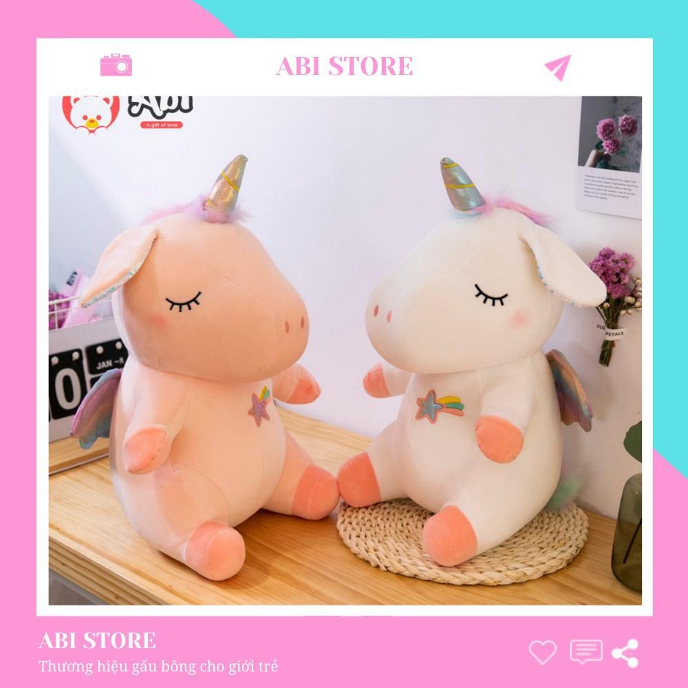 Gấu bông unicorn – thú bông ngựa Pony 1 sừng size 35 cm