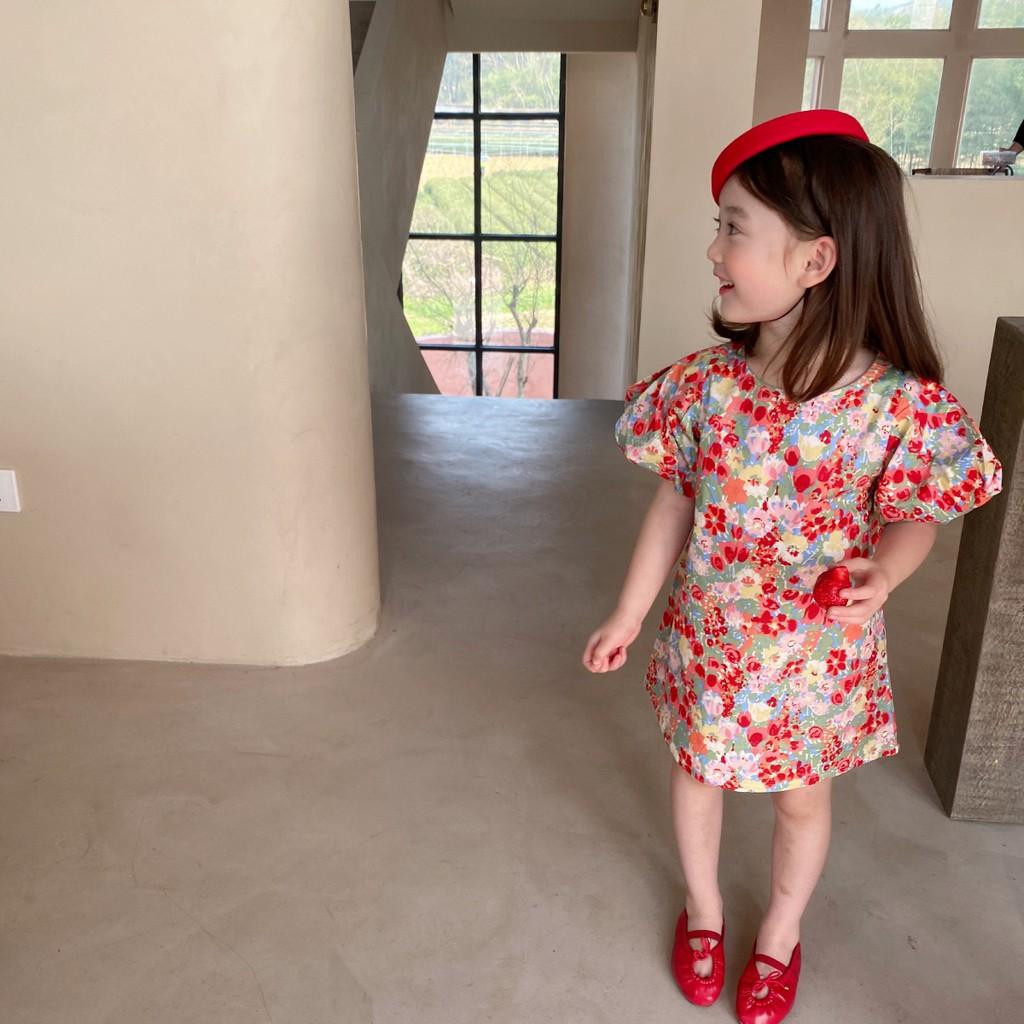 [V073] Váy xuông hoa tay bồng sz 90-140