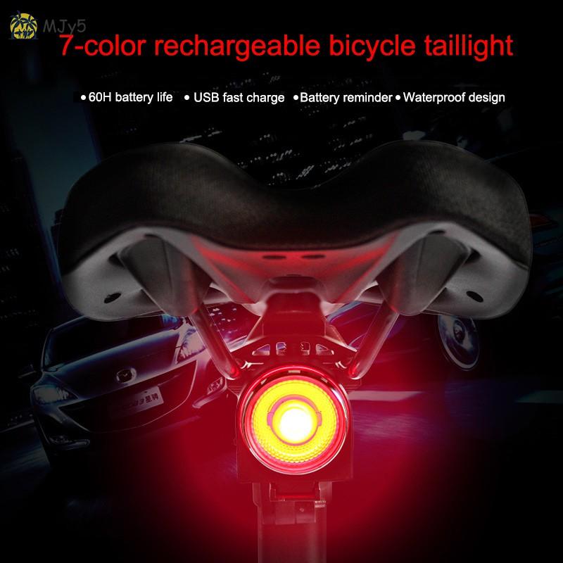 USB LED Bicycle Tail Light Smart Brake Induction Bike Rear Light Lamp 7 Colors
