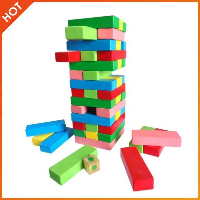 [CỰC ĐẸP] – Bộ đồ chơi rút gỗ 48 thanh màu