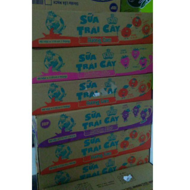 Thùng sữa Lif Kun hộp 110ml x48 vị cam/dâu/trái cây nhiệt đới