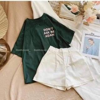 Set áo thun xanh lá form rộng + quần kaki trắng thumbnail