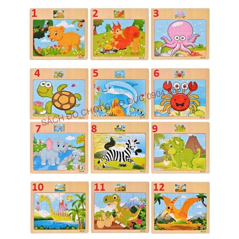 Combo 12 tranh ghép hình 12 miếng, 12 mảnh con vật có hình mẫu phía trên