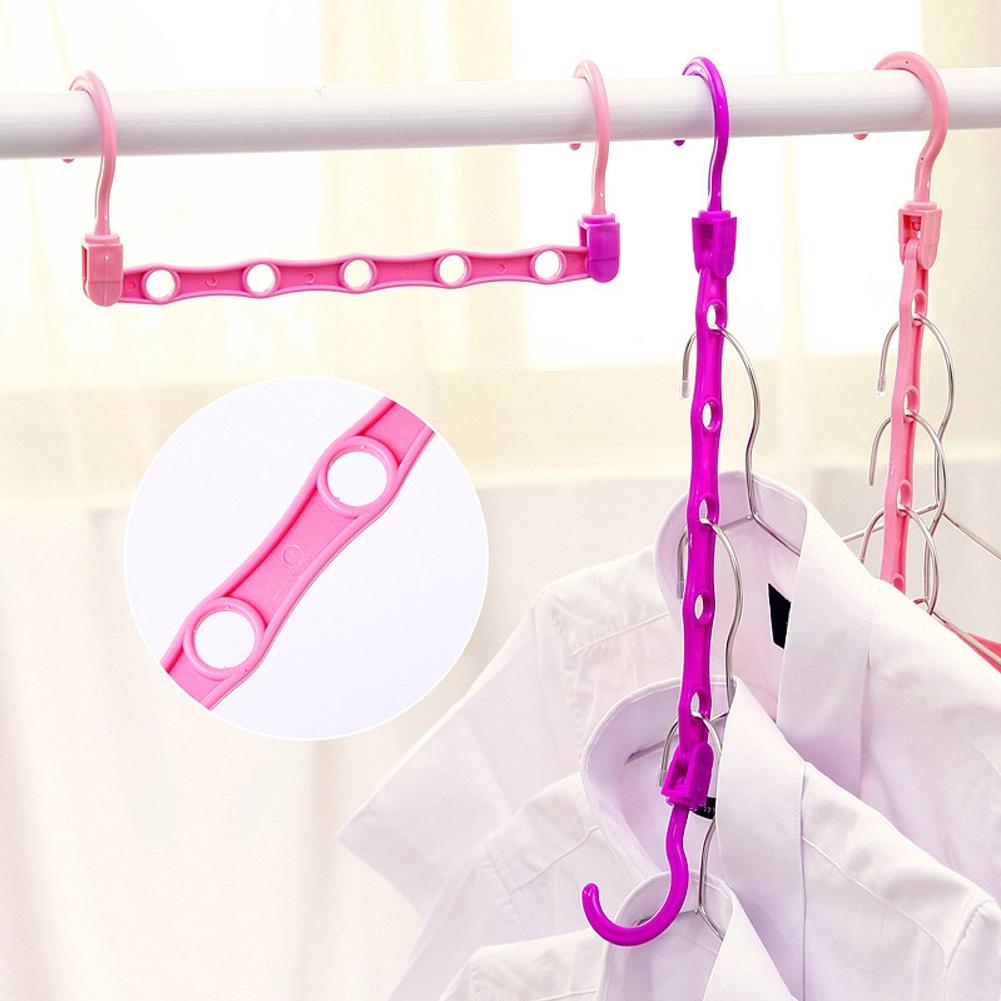 5-hole Random Color Hanging Clothes Hanger Drying Rack Space Saving Multifunction Clothing Storage Organizer Plastic