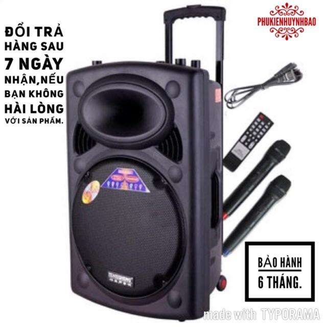 Loa karaoke kéo temeisheng LA-012-1 tặng 2 mic không dây