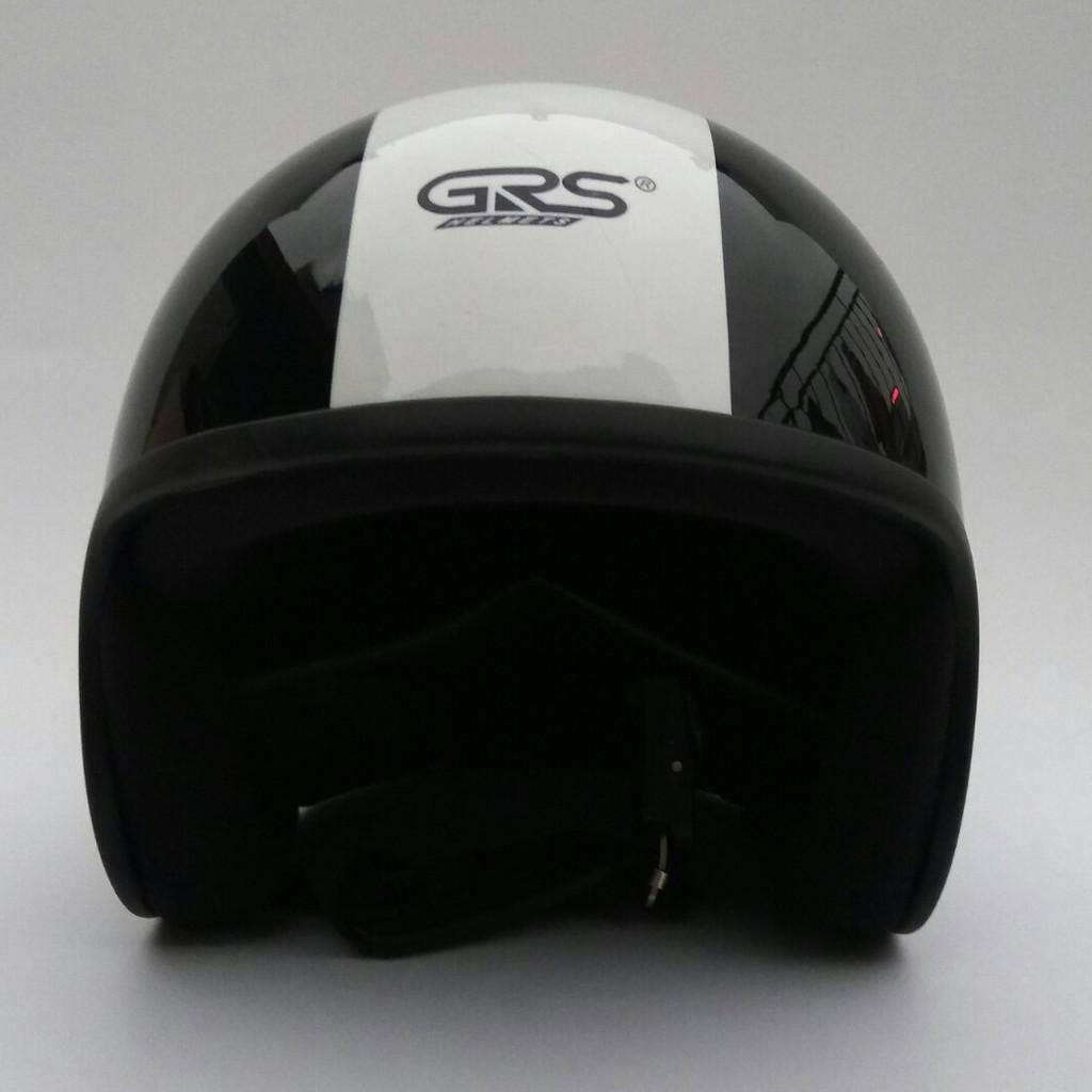 Mũ bảo hiểm 3/4 GRS A360T - Đen bóng sọc trắng