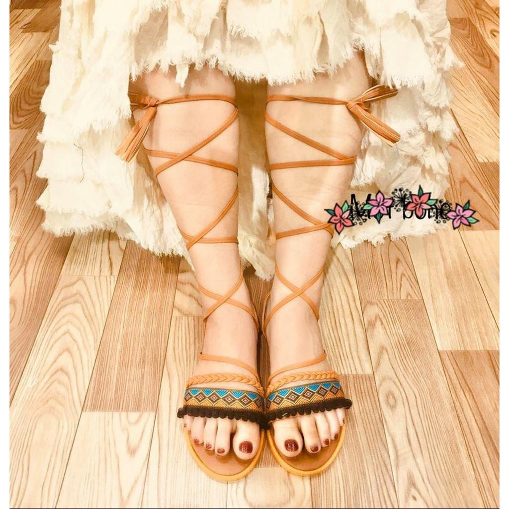Giày sandal thổ cẩm cột dây chiến binh tua rua phong cách vintage - cdbím giá rẻ