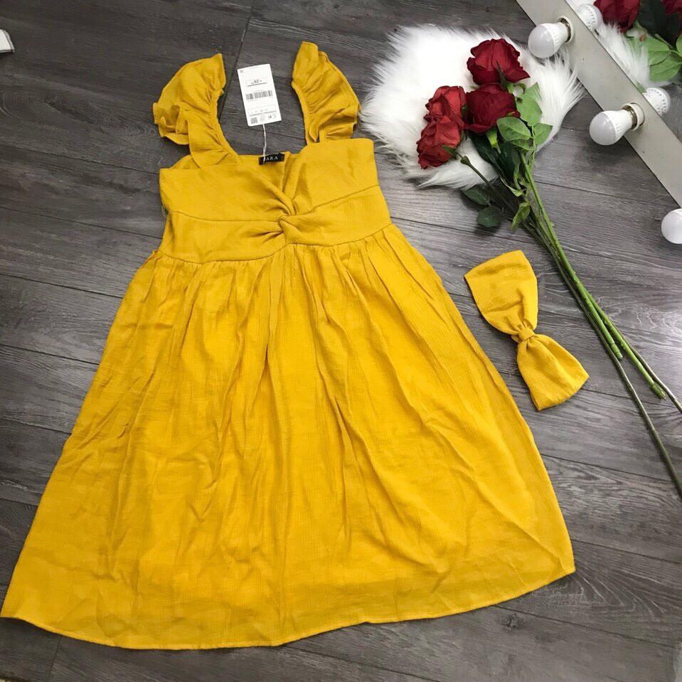 ( 494 A15 SN ) Đầm baby doll kèm khăn tuban về màu đen, trắng, vàng