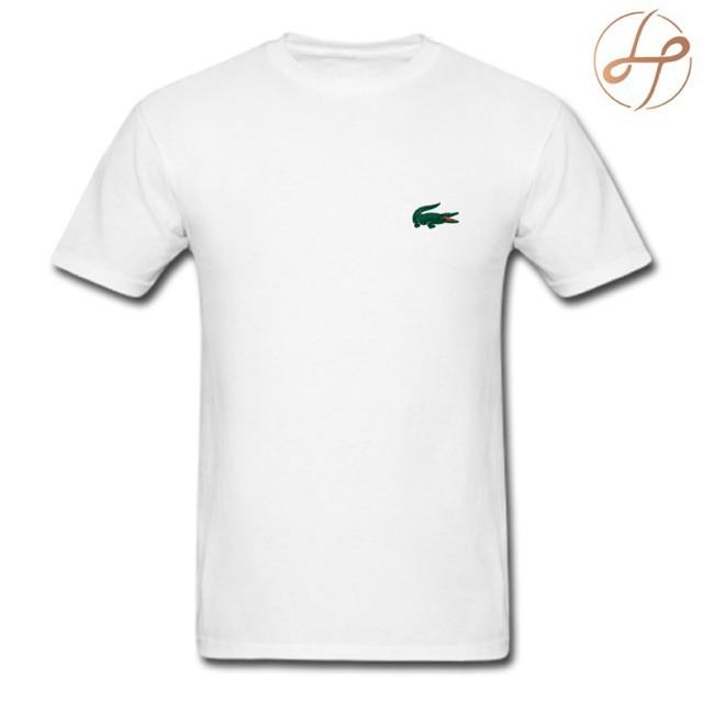 DIY T shirt Lacoste Crocodile Logo Crocs White Tshirt
