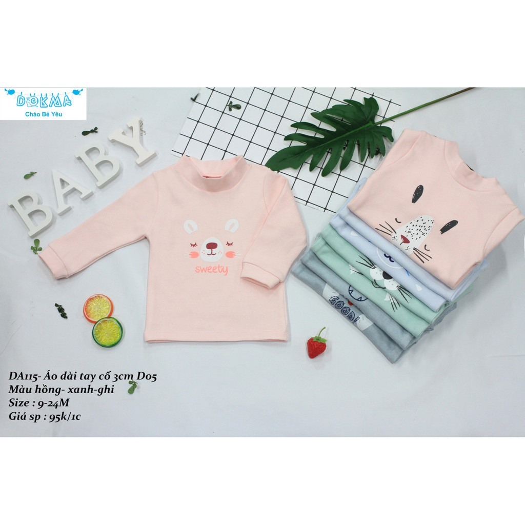 Dokma- Áo cổ 3 phân cotton len cho bé 9-24m