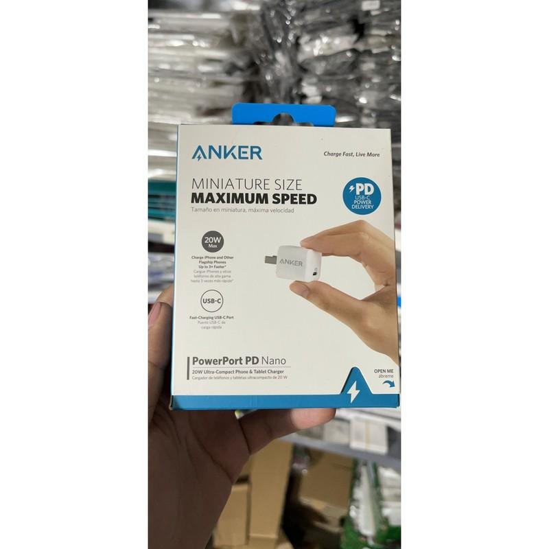 Củ sạc nhanh cho iPhone 12 chính hãng Anker 20W Max Powerport PD Nano PD3.0 cổng Type C chính hãng ( Bảo hàng 12 tháng )