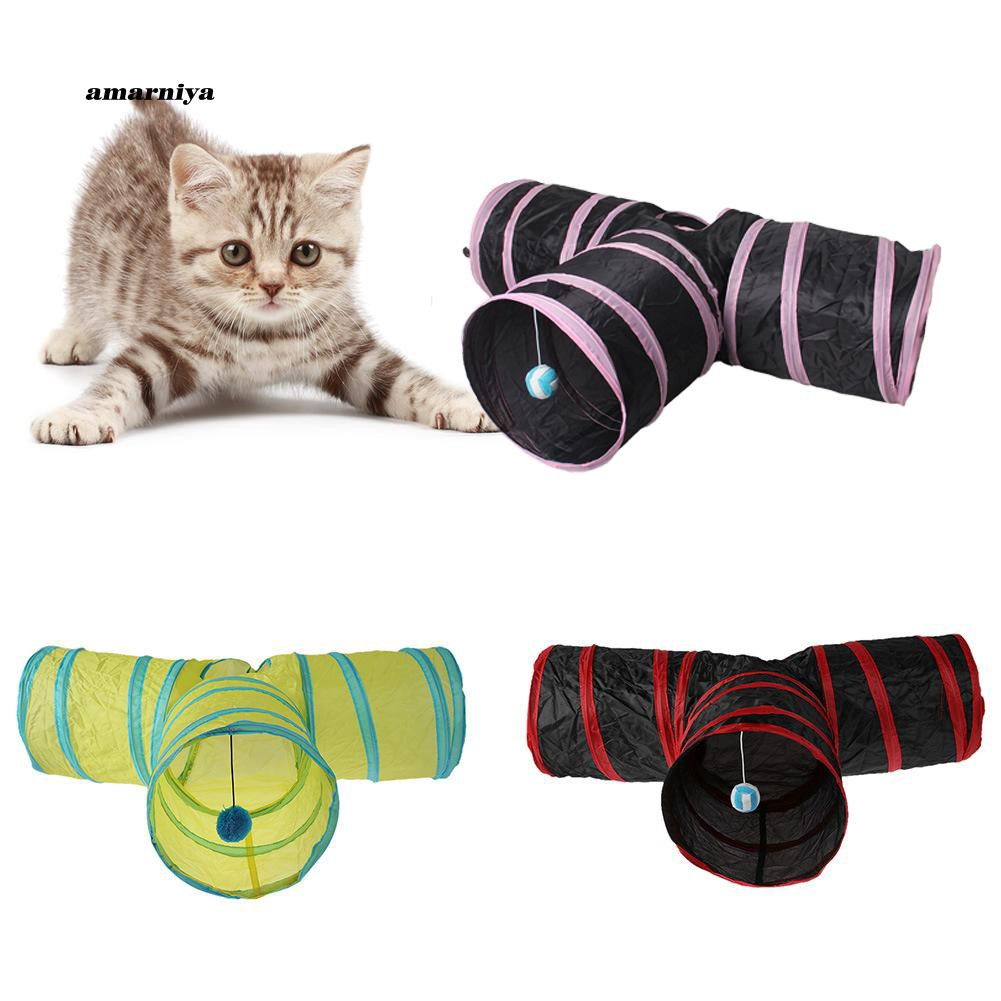 AMA♥Pet Animal Cat 3-Way-Out Tunnel Tube Hideout Playing Folding Nest Toy with Ball