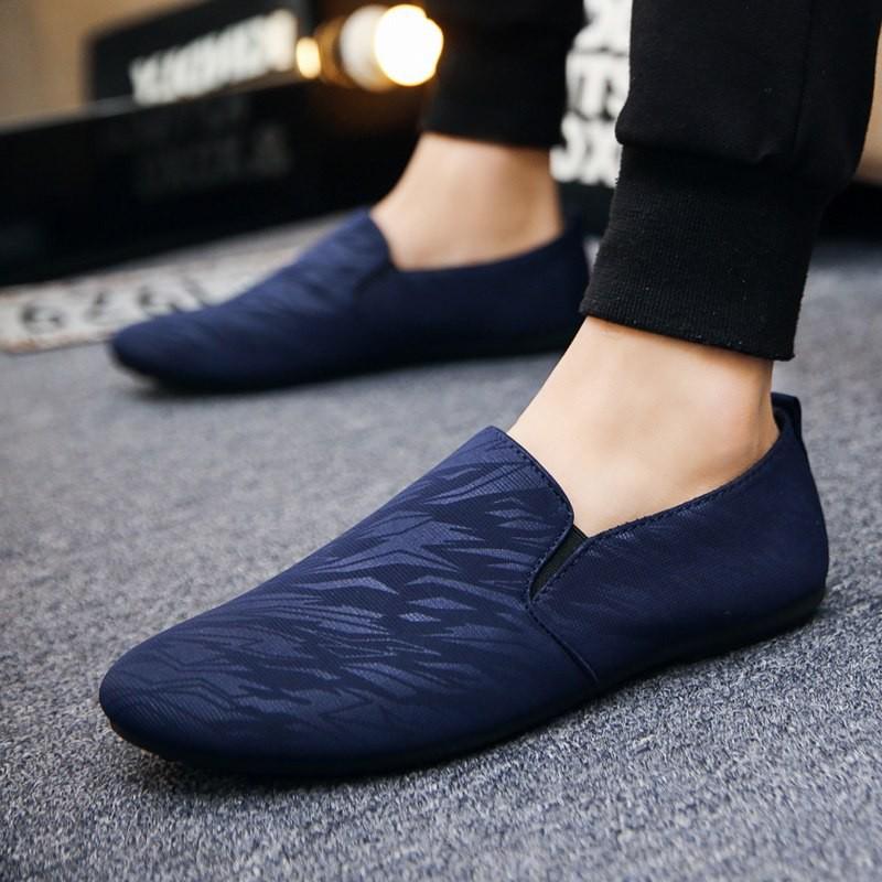 Tặng Tất Lười Khử Mùi Cao Cấp - Giày Lười Vải Nam Hàn Quốc Giày lười vải Màu Xanh SS2203