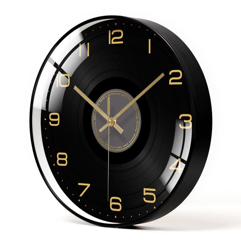 Đồng hồ Treo Tường Họa Tiết Dĩa Nhạc Chữ Số Đen Vàng