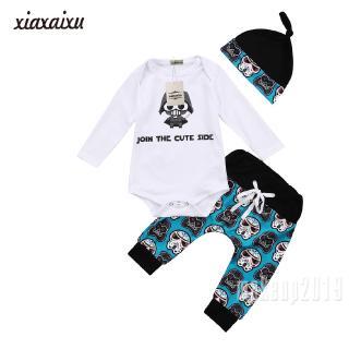 Mu♫-Infant Newborn Baby Boy Girl Tops Romper Pants Hat 3Pcs Outfits Set Clothes