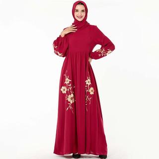 Đầm Tay Dài Cổ Tròn Phối Khoá Kéo Cho Phụ Nữ Islam
