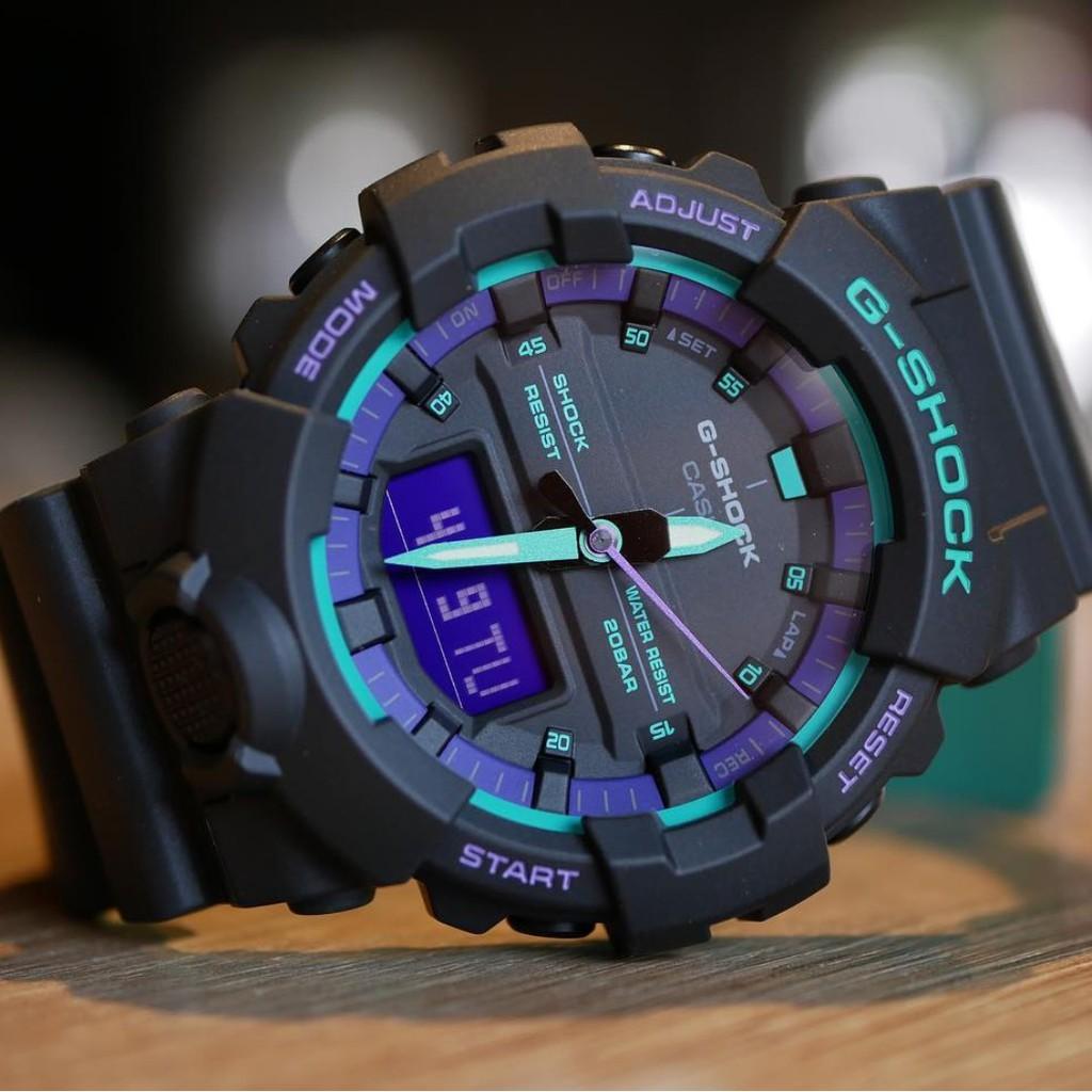 Đồng hồ nam Casio G-Shock GA-800BL-1ADR - kính chống đạn chống nước độ sâu 200m bảo