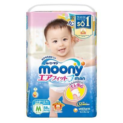Bỉm moony Nhật nhập khẩu dán/quần size NB90, S84, M64, M58, L44