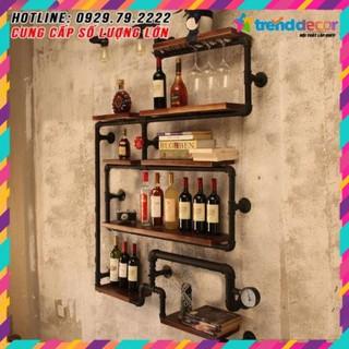 [GIÁ GỐC] kệ treo tường Kiêm đèn tường decor bằng ống săt độc lạ bền đẹp trang trí phòng khách sáng tạo decorvintage
