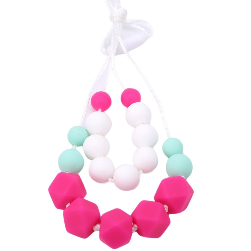 Baby and Mom Beads Silicone Necklace Infant Teething Toys Fashion Toddler Nursing Necklace