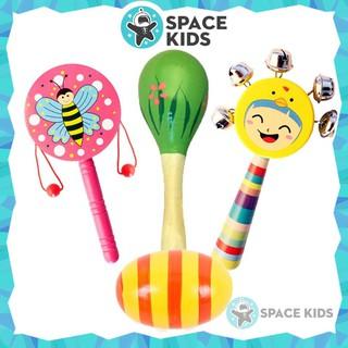 Đồ chơi Xúc xắc Space Kids, Lục lạc gỗ cho bé từ 3 tháng tuổi