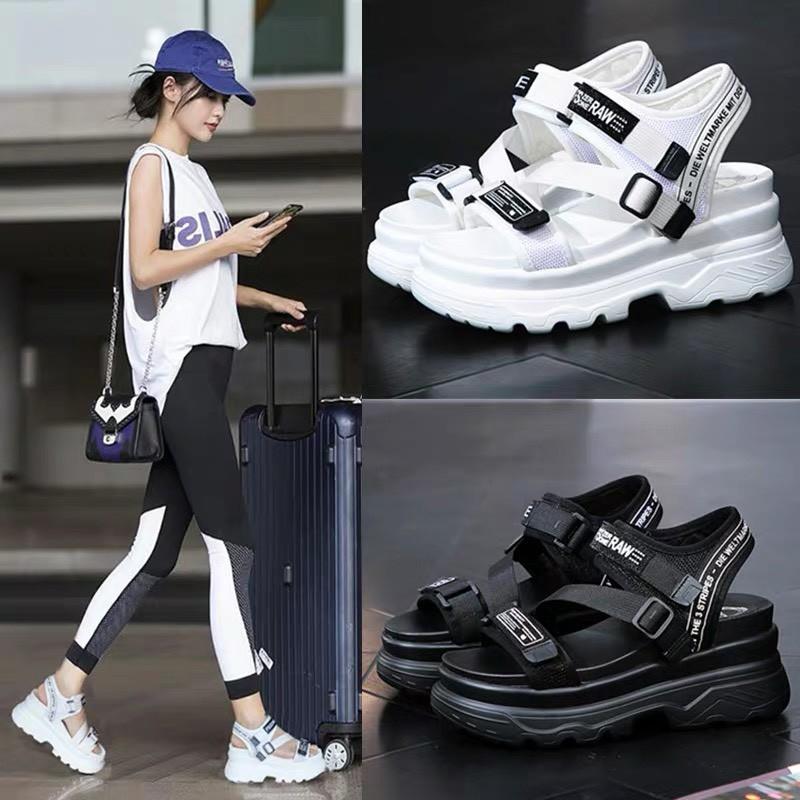 (2 MÀU) Sandal nữ thời trang Ulzang kiểu dáng đế cao quai RAWM cao cấp 2 màu nữ tính
