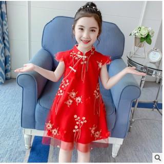 Sườn xám cách tân cho bé gái diện tết phong cách Trung Hoa xinh xắn - Đầm sườn xám bé gái