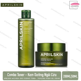 Toner - Kem Dưỡng Ngải Cứu Aprilskin Artemisia (Rice Toner 200ml - Hydra Gel Cream 50ml)
