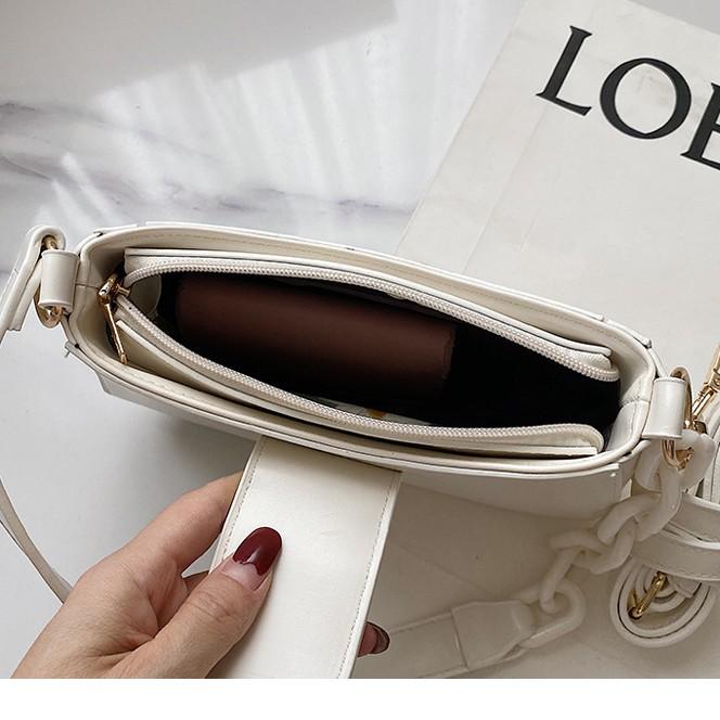 Hàng sẵn [Bộ túi combo 2 dây] Túi kẹp nách dây da phối xích khóa tròn siêu đẹp HÀNG LOẠI 1