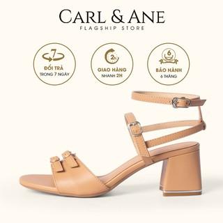Carl & Ane - Sandal cao gót phối khoá kiểu dáng chiến binh cao 6cm màu bò _ CS006