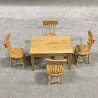 💗Sunei💗5Pcs Miniature Wooden Dining Table Chair Set For 1:12 Dollhouse Furniture