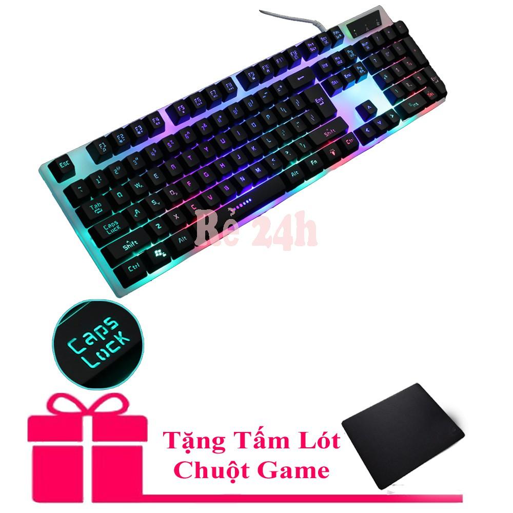 Bộ bàn phím giả cơ và chuột game GTX300 led đa màu (Đen)(tặng lót chuột)