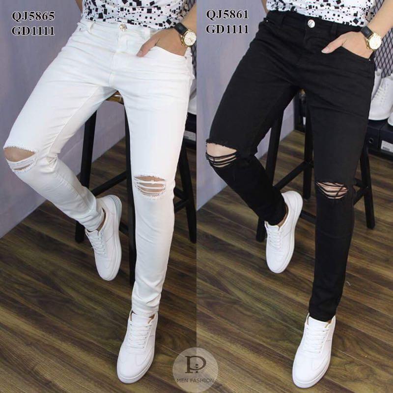 Quần jeans nam rách gối Đen Trắng ôm chân dày dặn co giãn bền đẹp thoải mái (Shop bán Chân Thành Uy Tín)