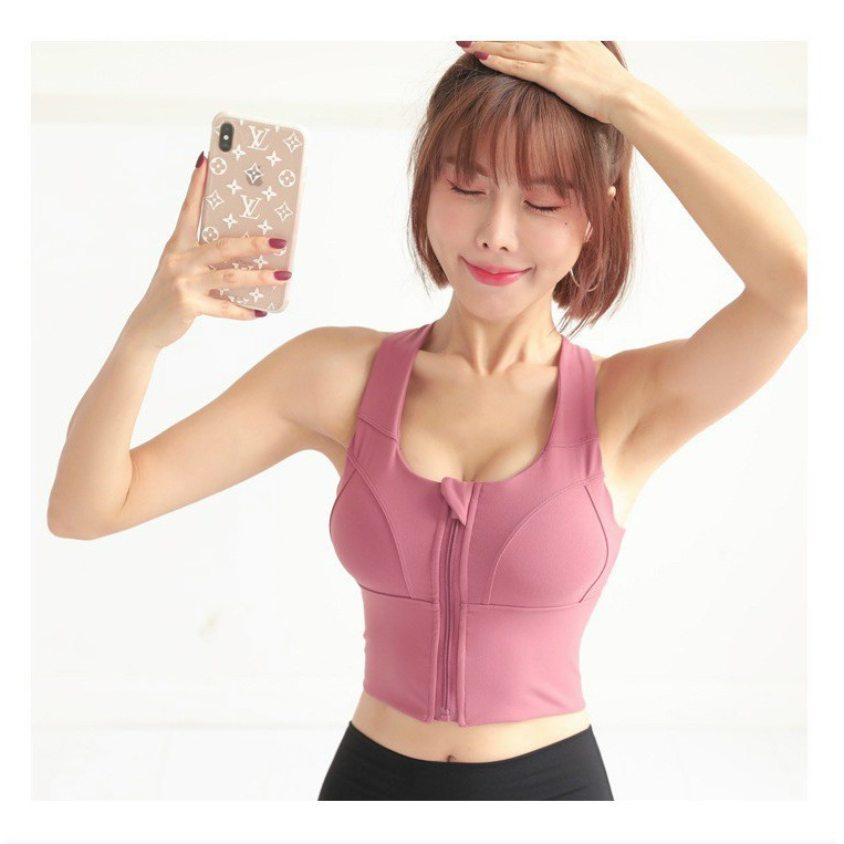 Áo Bra Gym AEROBIC nữ có lót, Áo tập gym nữ nâng ngực khóa kéo