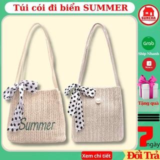 Túi cói đi biển SUMMER, túi xách nữ phong cách Hàn Quốc đi chơi, đi biển, đi chợ - Tặng Kèm Buộc Tóc
