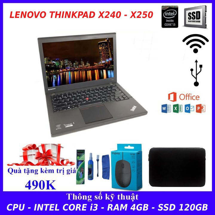 Máy Tính Laptop Lenovo Thinkpad X240 Intel i3-4030U Ram 4GB. hàng nhập khẩu siêu bền