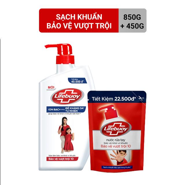 Combo Sữa tắm 850g và Nước rửa tay sạch khuẩn 450g Lifebuoy Bảo Vệ Vượt TrỀ