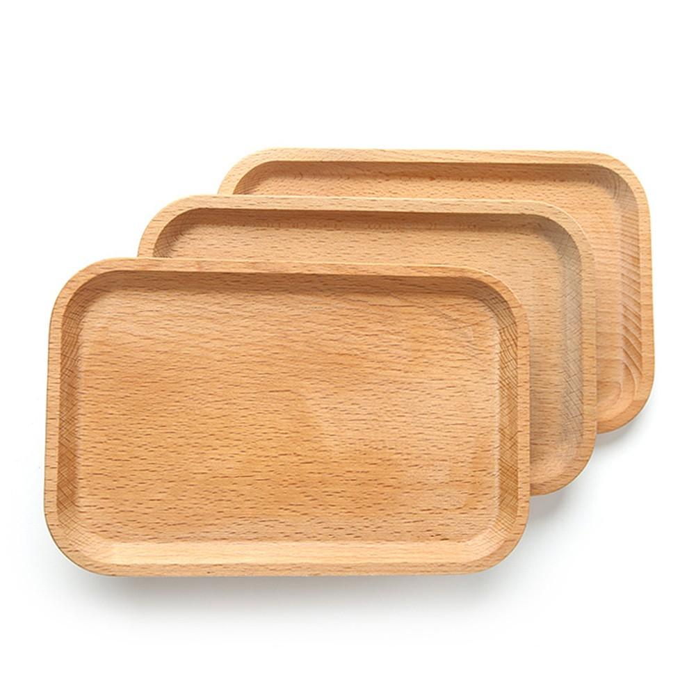 Khay gỗ đựng đồ ăn hình chữ nhật để bàn