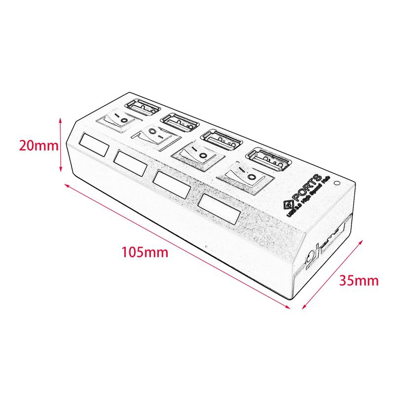 8.15【HOT】Portable USB 3.0 High Speed Hub with Four Separate Ports with Power Supply