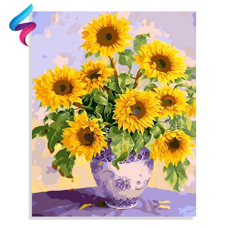 Tranh sơn dầu hình hoa hướng dương tự làm sáng tạo 7679
