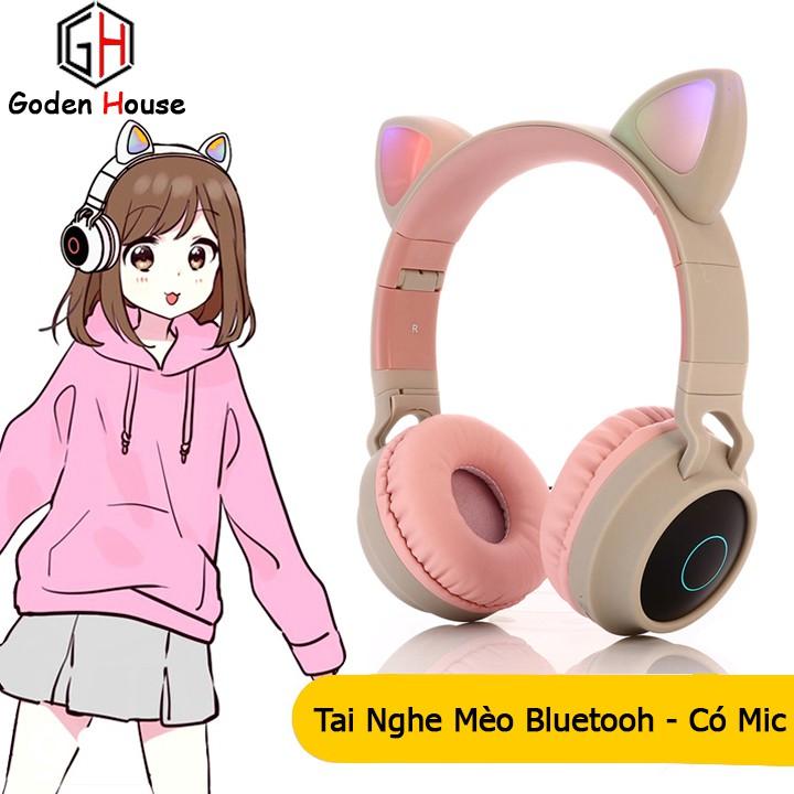 Tai nghe bluetooth tai mèo Goden House cao cấp, headphone tai mèo đáng yêu chống ồn âm thanh trầm ấm