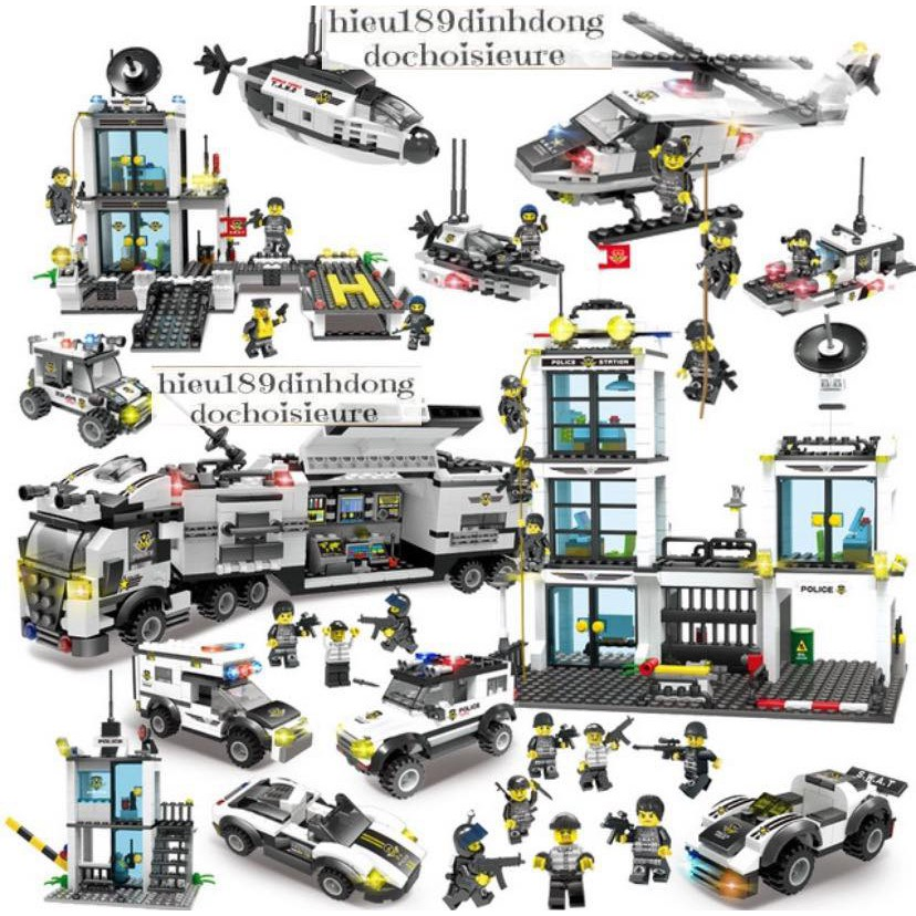 Lắp ráp xếp hình Lego City : trung tâm chỉ huy cảnh sát đặc nhiệm swat cỡ siêu lớn 2322 mảnh