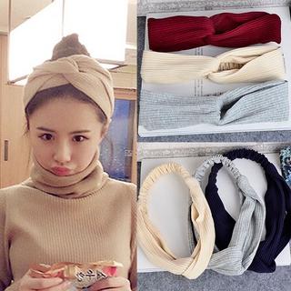 Băng đô len dệt kim co giãn bản rộng cao cấp cho nữ
