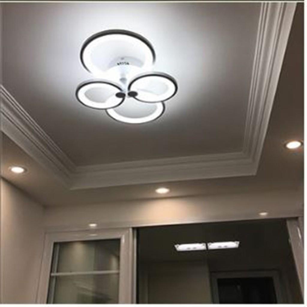 Đèn ốp trần MONSKY thạch cao trang trí 4 vòng 3 chế độ ánh sáng có điều khiển từ xa tiện lợi