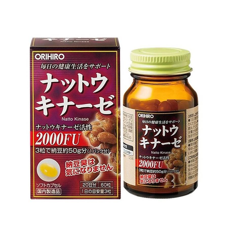Thực phẩm bảo vệ sức khỏe ORIHIRO NattoKinase Capsule hỗ trợ điều trị tai biến, chống đột quỵ 60 viên/hộp
