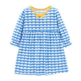 Mã QT001 váy dài tay cho bé gái màu xanh họa tiết vảy cá của Little Maven cho bé gái