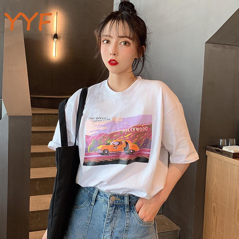 YF summer 2019 new Korean version of loose ins cartoon half sleeve T-shirt women's student short-sleeved shirt foreign g
